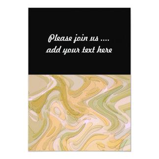 Abstract Art Yellow Green Swirls 13 Cm X 18 Cm Invitation Card