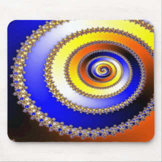 Abstract ARTs - Spiral blue yellow Mouse Pad