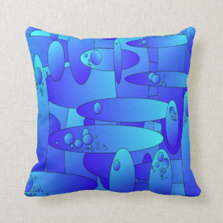 Abstract artwork blue/green oval shapes cushion