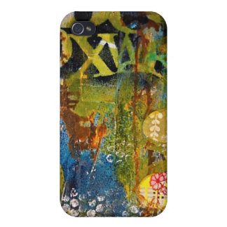 Abstract Artwork  Blues & Greens leaves & bubbles iPhone 4 Case