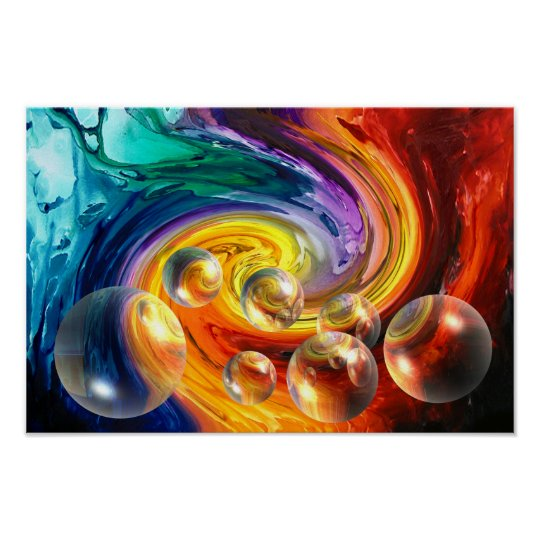 abstract artwork red yellow blue green poster