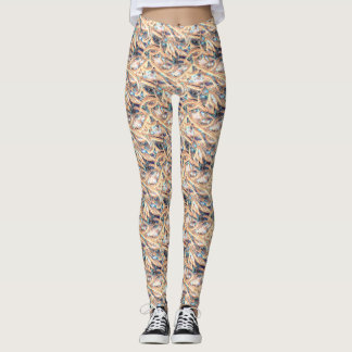 Abstract Autumn Bloom, Fall Colors, Leggings