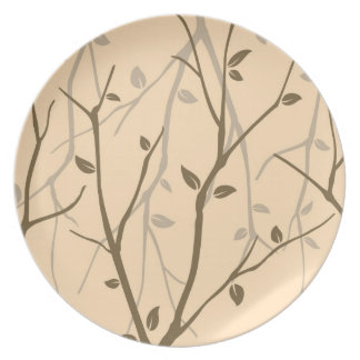 Abstract Autumn Leaves Party Plate