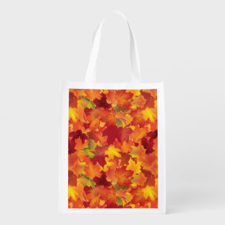 Abstract Autumn Leaves Pattern Reusable Grocery Bag