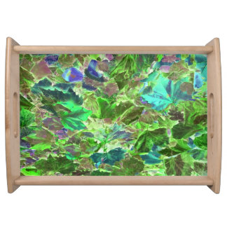 Abstract Autumn Leaves Pattern Serving Tray