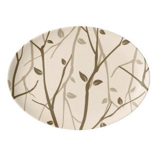 Abstract Autumn Leaves Porcelain Serving Platter