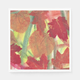 Abstract Autumn Leaves Red Brown Orange Napkins Disposable Serviette