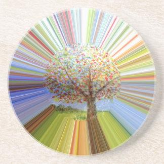 Abstract Autumn Tree Multicolored Striped Coaster