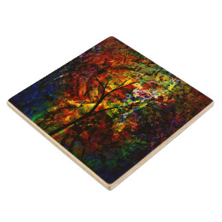 Abstract Autumn Wood Coaster