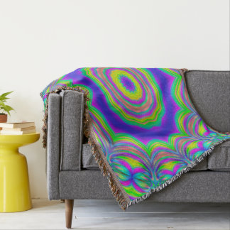 Abstract Background Blue And Green Concentric Star Throw Blanket