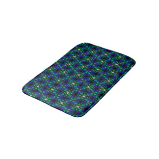 Abstract Background Blue And Green Pattern Bath Mat