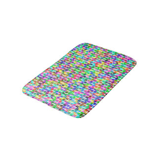 Abstract Background Colored Geometric Grid Bath Mat