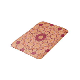 Abstract Background Concentric Flowers Bath Mat