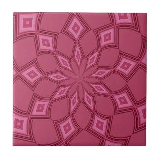 Abstract Background Fuschia Diamonds Small Square Tile