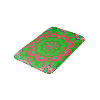 Abstract Background Green And Pink Bath Mat