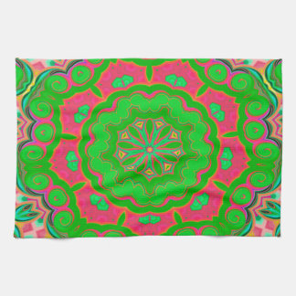 Abstract Background Green And Pink Tea Towel