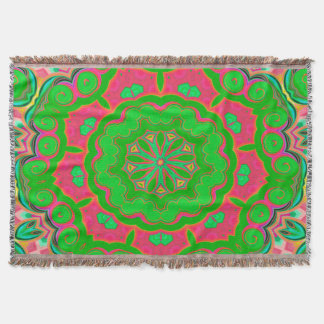 Abstract Background Green And Pink Throw Blanket