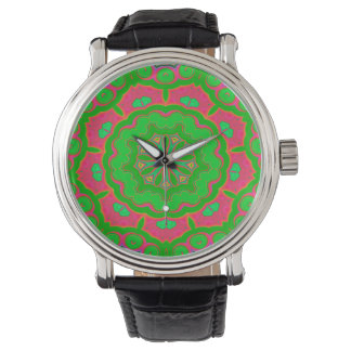 Abstract Background Green And Pink Watch
