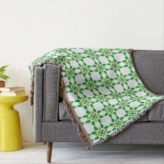 Abstract Background Green Leaf Design Throw Blanket