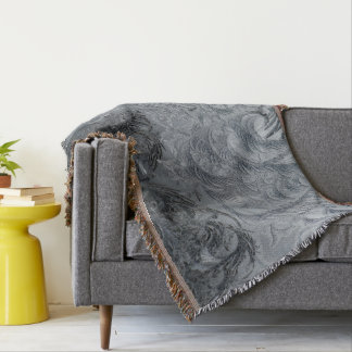 Abstract Background Grey Feathers Throw Blanket