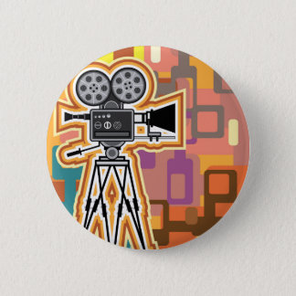 Abstract Background Movie Projector Film camera 6 Cm Round Badge