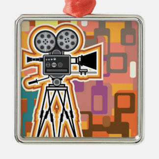 Abstract Background Movie Projector Film camera Silver-Colored Square Decoration