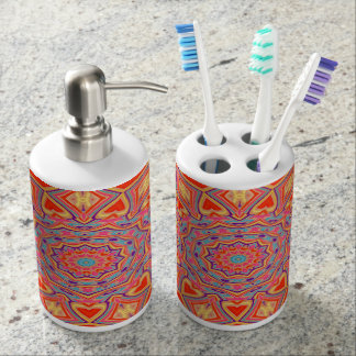 Abstract Background Multi Color Mosaic Pattern Bath Accessory Set