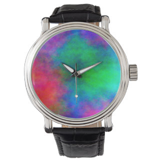 Abstract Background Multi Color Watercolor Watch