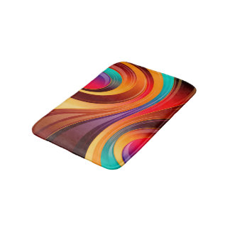 Abstract Background Multi Color Whirl Bath Mat