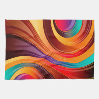 Abstract Background Multi Color Whirl Hand Towel