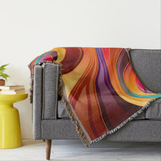 Abstract Background Multi Color Whirl Throw Blanket
