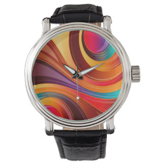 Abstract Background Multi Color Whirl Watch