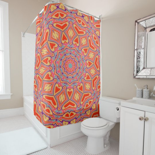 Abstract Background Multi Colour Mosaic Pattern Shower Curtain