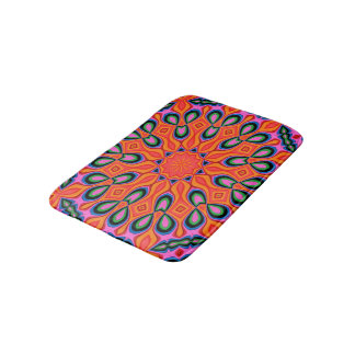 Abstract Background Organe Red And Blue Bath Mat