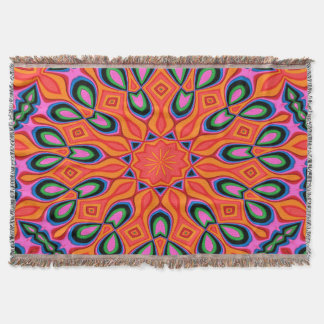 Abstract Background Organe Red And Blue Throw Blanket
