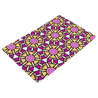 Abstract Background Purple And Gold Stained Glass Floor Mat