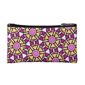 Abstract Background Purple And Gold Stained Glass Makeup Bag