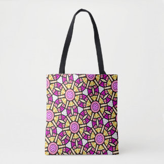 Abstract Background Purple And Gold Stained Glass Tote Bag