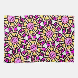 Abstract Background Purple And Gold Stained Glass Towel