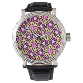 Abstract Background Purple And Gold Stained Glass Watch