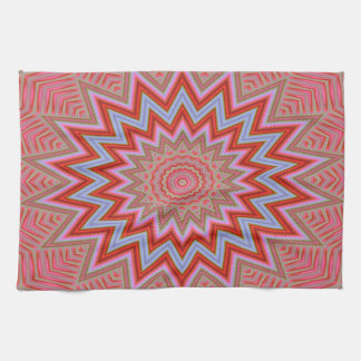 Abstract Background Red And Pink Concentric Stars Kitchen Towel