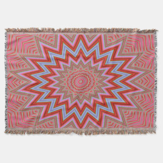 Abstract Background Red And Pink Concentric Stars Throw Blanket