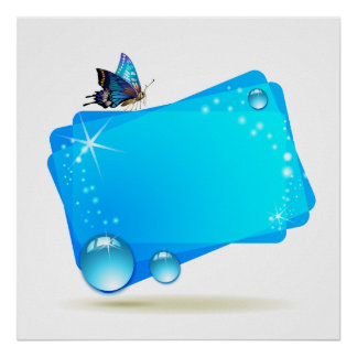 Abstract background with butterfly and drops, isol poster