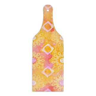 Abstract Background Yellow White & Pink Watercolor Cutting Board