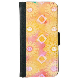 Abstract Background Yellow White & Pink Watercolor iPhone 6 Wallet Case