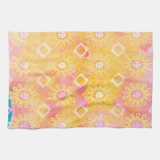 Abstract Background Yellow White & Pink Watercolor Kitchen Towel