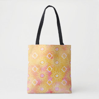 Abstract Background Yellow White & Pink Watercolor Tote Bag