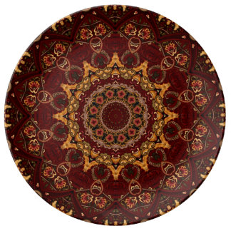 Abstract Baroque Arabesque Pattern in Red & Gold Plate