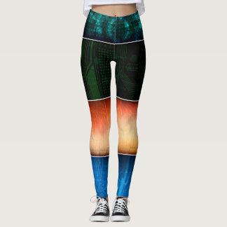 Abstract Bars Colorful Leggings