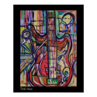 Abstract Bass Guitar Poster by ValAries